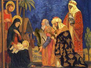 The Magi worship Jesus